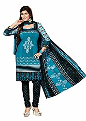 Aarti Apparels Women's Cotton Unstitched Dress Material _MAHARANI-15_Blue and Black