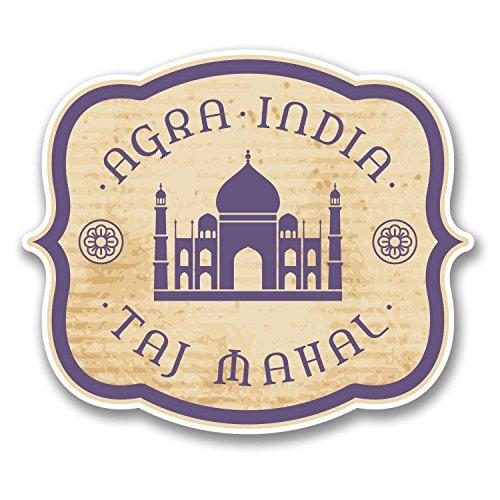 2-x-10cm-agra-india-taj-mahal-vinyl-sticker-travel-luggage-tag-indian-fun-6394-10cm-wide-x-85cm-tall