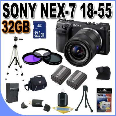 Low priced Sony Alpha NEX-7 Interchangeable Lens Digital Camera w/18-55mm Lens (Black) + 32GB SDHC Memory + 2 Extended Life Batteries + 3 Piece Filter Kit + USB Card Reader + Memory Card Wallet + Shock Proof Deluxe Case + Full Size Tripod + Accessory Saver Bundle!