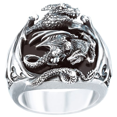 Realm Of The Dragon Sterling Silver Ring: Men's Fantasy Jewelry - size 11