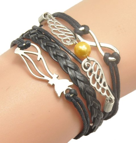 Humasol Womens Bronze Infinity Lady Retro Knit Charms Suede Leather Wrap Bracelet Gift