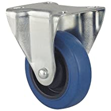 Revvo Caster Sovereign Series Plate Caster, Rigid, Rubber Wheel, 264 lbs Capacity, 4&#034; Wheel Dia, 1-3/16&#034; Wheel Width, 5&#034; Mount Height, 4&#034; Plate Length, 3-1/8&#034; Plate Width
