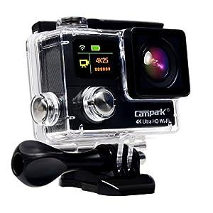 Campark 超薄型4k((25fps) 日本語対応 防水デュアルスクリーンスポーツアクションカメラ バースト写真 独立したアプリ アウトドア・スポーツ小型防水カメラ