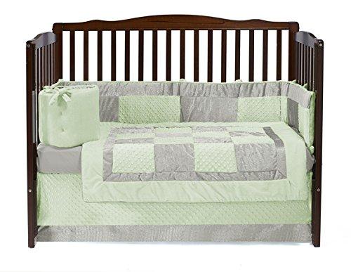 Baby Doll Croco Minky Crib Set, Sage/Ivory