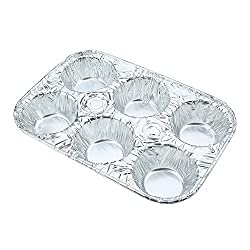 6pcs 6-Cavity Disposable Aluminum Foil Containers Food Storage Pans Tart Cupcakes Muffin Tin Trays-Crystallove