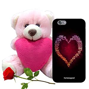 Valentine Gift Homesogood Love Of My Life Multicolor 3D Mobile Case For iPhone 6 (Back Cover) With Teddy & Red Rose