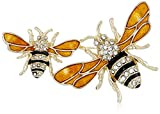 """Napier """"Classics"""" Boxed Gold Tone and Yellow Bee Brooch Pin"""