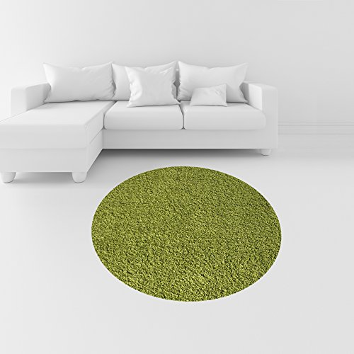 Soft Shag Round Area Rug 5 ft. Plain Solid Color GREEN - Contemporary Area Rugs for Living Room Bedroom Kitchen Decorative Modern Shaggy Rugs