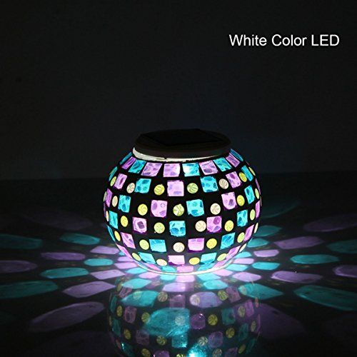 Hallomall™ Color Changing Mosaic Garden Solar Light, Waterproof/ Weatherproof Crystal Glass Globe Ball Table Flameless Light Lamp for Garden, Patio, Party, Yard, Outdoor/ Indoor Decorations (Glass)