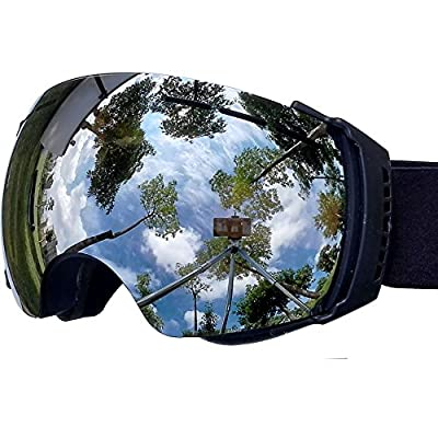 Zionor® Professional Snowmobile Snowboard Skate Ski Goggles with Detachable Lens and Wide Angle Double Lens Anti-fog Big Spherical Unisex Adult Lagopus3500
