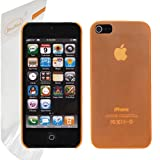 HoraDeals (TM) Orange Half Transparent Frost Matte Ultra Thin Snap on Air Case Hard Skin Cover For Apple iPhone 5 5S, Including One Microfiber Clean Cloth