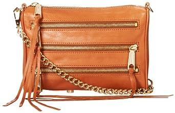 Rebecca Minkoff Mini 5-Zip Convertible Cross-Body Handbag,Almond,One Size