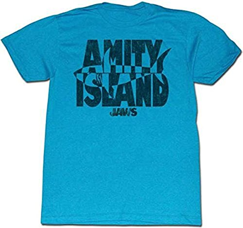 Official Jaws Invert Amity Island Turquoise Adult T-shirt - S to XXL