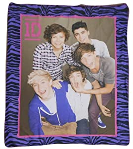 "One Direction Purple Zebra Throw Fleece Blanket 50"" X 60"""