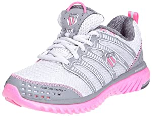 K-Swiss Women's Blade-Light Run Running Shoe,Gull Grey/Charcoal/Neon Pink,8.5 M US