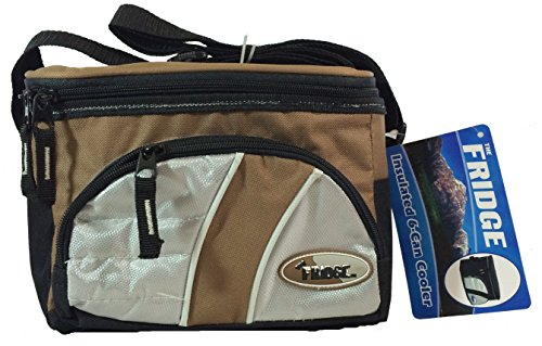 "Fridge Insulated 6 Can Thermal Cooler Lunch Bag with Easy Clean Liner, Brown (9"" x 6"" x 7.25"")"