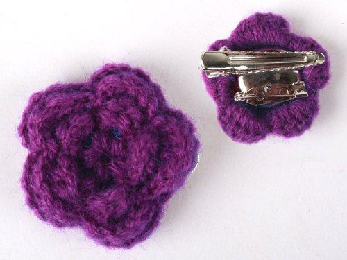 ヘアピン レース ウール 花柄 髪飾り 結婚式 パーティー#紫色