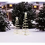 Lighted Spiral Christmas Tree Sculptures, Clear Lights (2-pack)