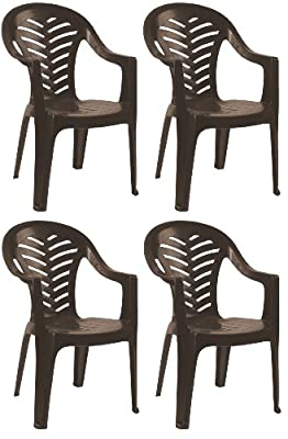 Resol Palma Garden Chair - Chocolate Brown - Patio Outdoor Plastic Furniture (Pack of 4)