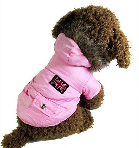 Pet Cat Dog Clothes English Air Force Pilot Fleece Lining Coat Jumper Small Dog Costumes Pink Xl