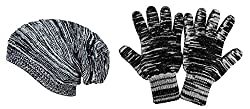 Gajraj Black Textured Beanie & Hand Gloves (Combo)