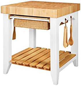 Amazon.com: Powell Color Story Pure White Butcher Block Kitchen Island: Kitchen & Dining