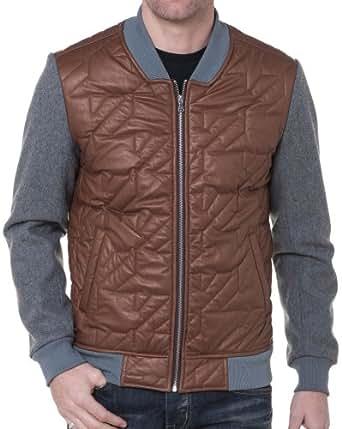 BLZ jeans - Blouson Homme Bicolore avec Simili Cuir - couleur: Marron - taille: XL