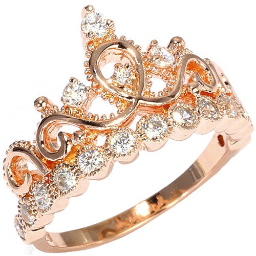 Jewelsobsession'S 14K Gold Princess Crown Ring (Rose-Gold, 5.5)