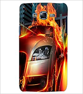 PrintDhaba Burning Car D-2044 Back Case Cover for SAMSUNG GALAXY ON 5 (Multi-Coloured)