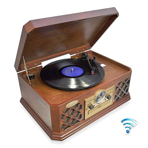 Pyle PTCD4BT Bluetooth Classic Style Record Player Turntable with CD Player, Cassette Deck, AUX (3.5mm) Input, Wireless Music Streaming 0