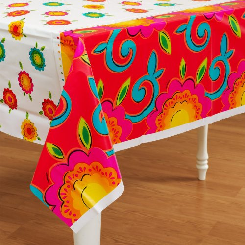 Caliente Flowers Plastic Tablecover - 1
