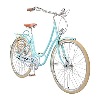 Viva Juliett Classic 7 City Cruiser Bicycle with Lights , 700c wheels, 47 cm frame, Women's Bike, Light Blue