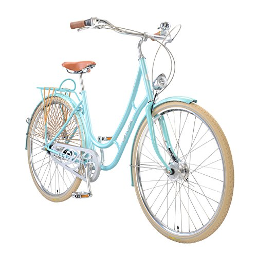 Viva Juliett Classic 7 City Cruiser Bicycle with Lights , 700c wheels, 47 cm frame, Women's Bike, Light Blue 1