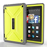 Fire HD 7 Case - Poetic Fire HD 7 Case [Revolution Series] - [Heavy Duty] [Dual Layer] [Screen Shield] Protective Hybrid Case with Built-In Screen Protector for Amazon Fire HD 7(2014) 4th Gen Citron (3 Year Manufacturer Warranty From Poetic)