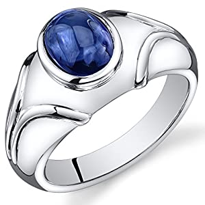 Mens Created Sapphire Cabochon Ring Sterling Silver Rhodium Nickel Finish 3.50 Carats Size 8