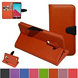 LG G4 Case,Mama Mouth [Stand View] Folio Flip Premium PU Leather [Wallet Case] With Built-in Media Stand ID Credit Card / Cash Slots and Inner Pocket Cover For LG G4 V999 H810 VS999 F500, Orange