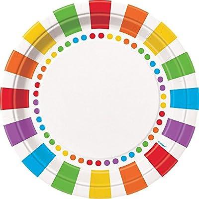 Unique Rainbow Party Dinner Plates, 16 CT by unique
