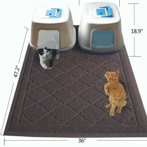 Easyology Jumbo Size Cat Litter Mat – (47 x 36 in) – Best Extra Large Scatter Control Kitty Litter Mats for Cats Tracking Litter Out of Their Box – Soft to Paws- (Patent Pending) (Brown)