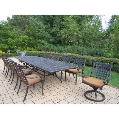 Oakland Living Belmont 11-Piece Rectangular Extendable Table Dining Set With Sunbrella Cushions, 84 By 126 By 44-Inch