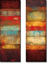 Bora and Cebu by Angelina Emet 2-pc Premium Stretched Canvas Art Set with Hand-Painted Edges (Ready-to-Hang) (Brown-Edges)