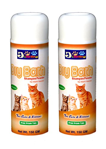 JiMMy Dry Bath - Cat Shampoo Powder - For Cats And Kittens- No Water Needed - Pack Of 2 - Total 300 GM