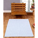 100% Cotton Gingham Check Rug Hand Woven Light Blue White