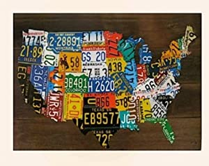 USA License Plate Map Print Wood Frame Wall Decor
