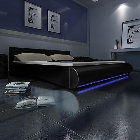 Cama Design Negro 140x 200cm a leds somier