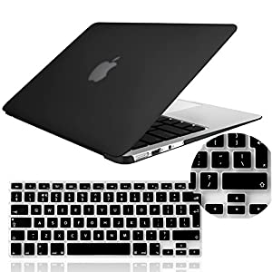 """IDACA Black Forsted Matt Hard Shell Case Cover for Macbook Air 13"""" 13.3"""" A1369 & A1466 and 2014 New Macbook Air with Silicone Keyboard Cover (European Version)"""