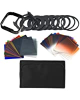 Kinps®24pcs Square Full + Graduated Filter Set + 9 Size Adapter Ring Filter Holder for cokin p series