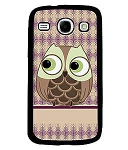 PRINTVISA Cartoon Owl Premium Metallic Insert Back Case Cover for Samsung Galaxy Core - I8260 / I8260 - D5952