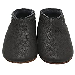 Mejale Baby Boy Shoes Soft Soled Leather Moccasins Anti-skid Infant Toddler Prewalker(dark grey,12-18 months)