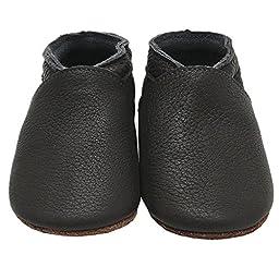 Mejale Baby Boy Shoes Soft Soled Leather Moccasins Anti-skid Infant Toddler Prewalker(dark grey,6-12 months)