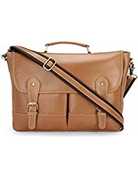 The House Of Tara Genuine Leather Laptop And Office Bag (Tan, HTMB 048)